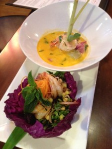 Tom Yum Goong Soup and Herbal Prawn Salad