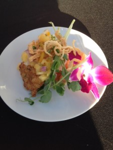 Coconut and Ginger infused Prawns Cake with pineapple salsa and sweet baby pea shoots
