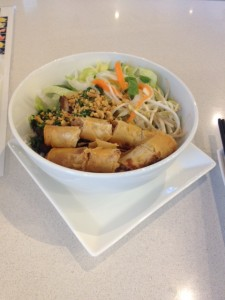 Grilled Lemongrass Chicken & Spring Rolls Vermicelli Bowl