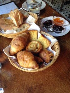 freshly baked croissants, baguette and jams