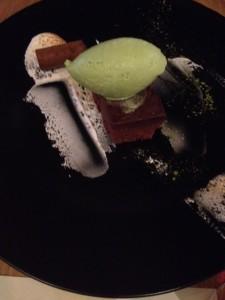 Chocolate Marquis with green tea ice cream