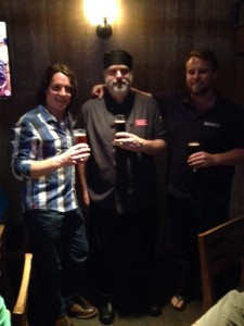 Kevin Emms (Brewmaster) on Left, Chef Cam in middle and Shea de Jaray (Owner of Deep Cove Craft)