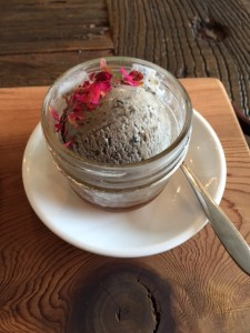 Black Sesame Vegan Ice Cream in rose syrup