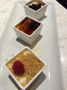 Goats Cheesecake, Pannacotta with blueberries and an outstanding Pumpkin Creme Brûlée.
