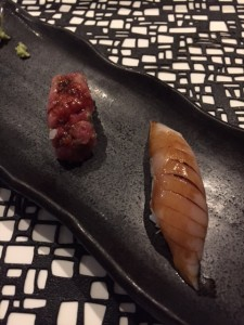 Negitoro Nigiri (on left) albacore tuna nigiri (on the right)