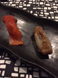 Adams River Sockeye Salmon (on left) and Smoked Sable Kabayaki (on right)
