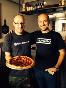 Chef Trevor and Mark at Pizza Carano with their Peperonie Pie