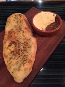 Blistered wood stone Flatbread and Mascarpone & black pepper honey