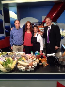 Richard Wolak with Lynn Colliar amd Jay Janower hosts of Global Weekend Morning News with Chef Victoria Tran of Five Elements Cafe
