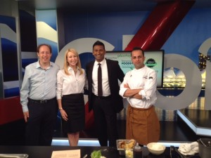 At Global TV Weekend Morning News with Chef Shallaw Kadir of Fishworks, Richard Wolak and hosts Samantha Falk and Shanel Pratatap #TastingPlatesYVR