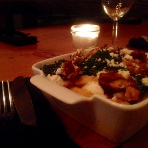 """Fried Artichoke and Kale Poutine with Goat's Cheese """"Gravy"""""""