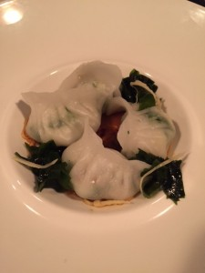 scallop and ling cod dumplings