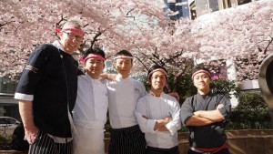 James Coleridge (left), Chef Takayuki Omi (middle) and the other chefs