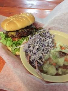 Veggie Burger with coleslaw and potato salad