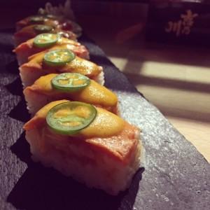 Spicy Salmon Aburi Hako Sushi