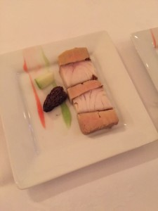 Terrine of pine-smoked Sturgeon and cured Quebec Fois Gras