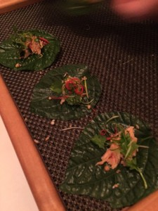 Smoked Trout on Betel Leaf