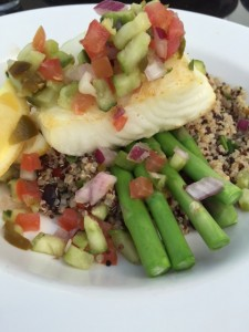 Baked Seabass on quinoa and asparagus