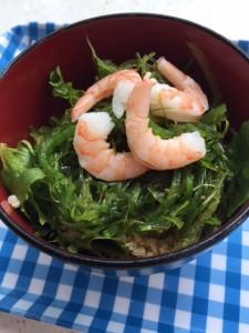 Quinoa Seaweed Salad with shrimp