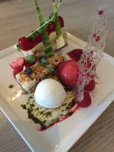 Mascarpone Mousse Cake with Grand Marnier Strawberries and Almond Raspberry Cake with Yogurt and raspberry sorbet