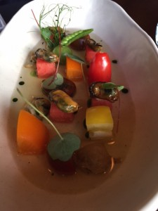 Chilled Tomato Consommé with Soba Salad