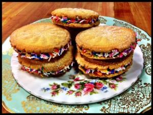 Buttermilk Cream Cookies with rainbow pride sprinkles