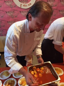 Chef Frank of Blue Water Cafe with his Prawn Curry Wurst