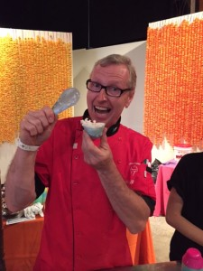 James of Bella Gelateria with his Coconut Sorbet with roasted almonds