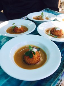 Lobster bisque with a salt cod croquette