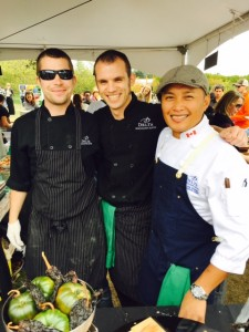 Executive Chef Tee-Jae Conwi (right) of Spencer's Lounge at Feast of Fields.