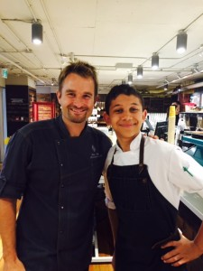 Chef Ned Bell and Chef Liam Lewis (right) at Whole Foods collaboration dinner.