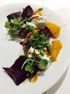Local roasted beet & goat cheese stacked salad