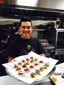 Chef Thien at Bodega on Main and the delicious Boquerones en Vinagre and the famous Albonigas