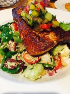 Blackened Steelhead Trout salad