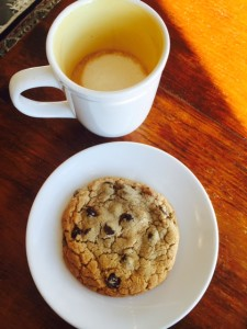 Chocolate Chip Cookie and an Espresso Macchiato