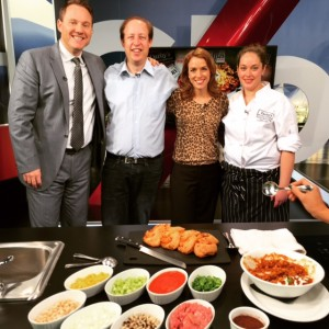 On the Global BC Weekend Morning News 'Saturday Chef' with hosts Leigh Kjekstad and Jay Janower with Chef Sue Culm of Darby's in Kits #ChiliChallengeYVR