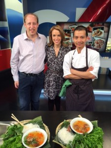 On the Global BC Weekend Morning News 'Saturday Chef' with host Leigh Kjekstad, Richard Wolak (vanfoodster) and Chef Tai Luong Nguyen of Linh Cafe #MeatballChallengeYVR
