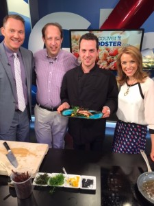 On the Global BC Weekend Morning News 'Saturday Chef' with hosts Leigh Kjekstad and Jay Janower along with Richard Wolak (vanfoodster) and Chef Jeff Miller of Argan Bistro #CalamariChallengeYVR
