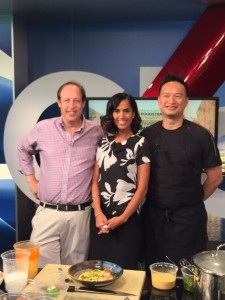 On the Global BC Weekend Morning News 'Saturday Chef' with host Sonia Beeksma along with Richard Wolak (vanfoodster) and Chef Keev Mah of Sai Woo #TastingPlatesYVR