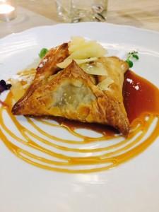 Apple pie, chestnut frangipane, caramel, aged cheddar