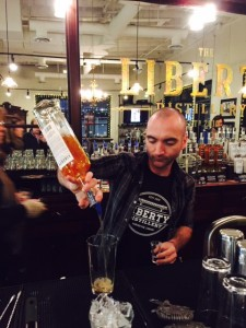 Andrew Christie (Tasting Room Manager) making cocktails