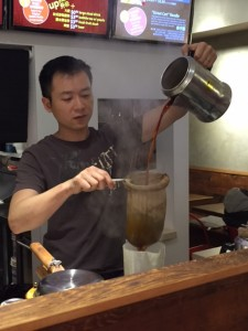 Making the Pantyhose Milk Tea
