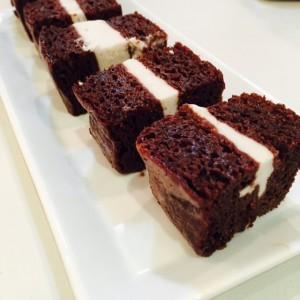 Chocolate Brownie vanilla ice cream sandwiches