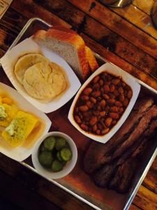 BBQ Beef Brisket, cornbread, snoked brisket beans and biscuits