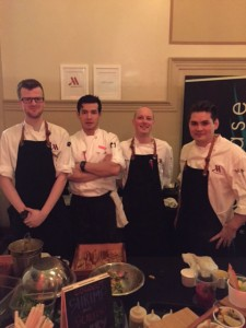 (From left to right) People's Choice winner, Showcase Kitchen and Bar Chefs Brett spencer, Shoh Zaynutdinov, Westley Feist, and Jesse Hochhausen.