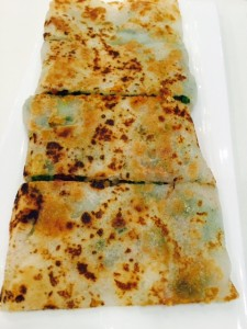Pan-fried chives rice crepe.