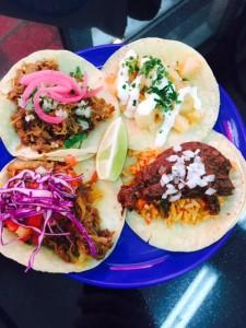 Beef Tinga, Carnitas , Mole and Papas Mexicanas