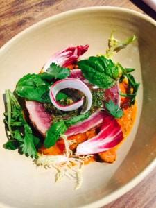 Sicilian Yellowfin Tuna Steak, Tomato Caper and Olive Sauce