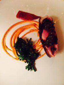 Duck breast with cherry sauce,