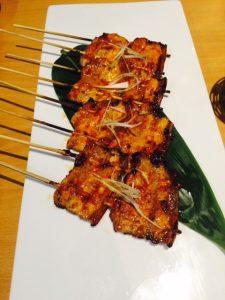 Spicy pork belly kushi-yaki